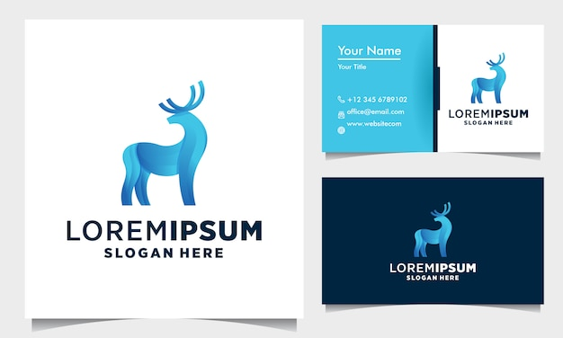 Deer color geometric logo design with business card template