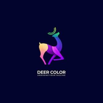 Шаблон логотипа градиента цвета оленя