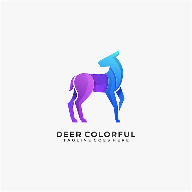 Deer colorful logo design abstract illustration modern company