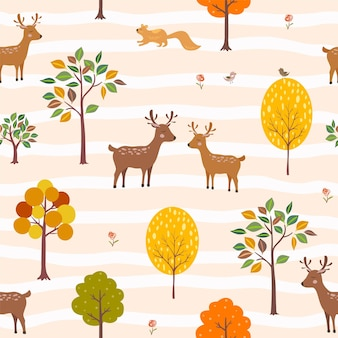 Deer couple fall in love when autumn is comingcute cartoon animals seamless pattern