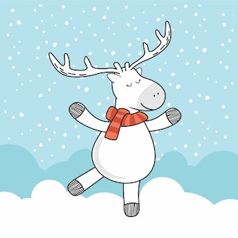 Deer doodle winter cartoon deer pop kawaii