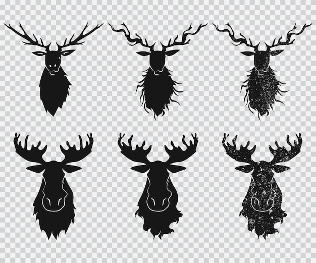 Deer and elk head with antlers black silhouette  icons set  on a transparent background.