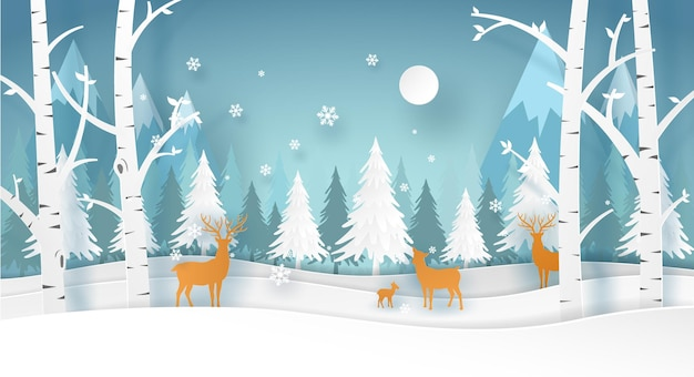 Deer family  in the forest in winter season with white tree and snow. christmas card in vector paper art.