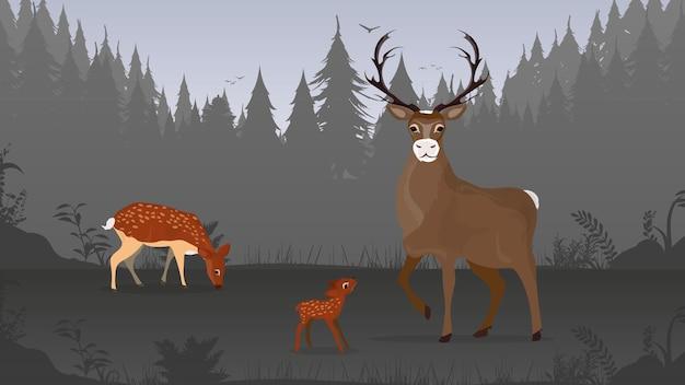 森の中の鹿の親子