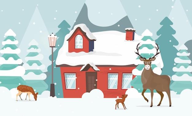 家の近くの鹿の家族。山の景色を望む雪に覆われた森。ベクター。