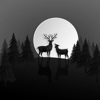Deer family in night forest with moon in the winter season. christmas, new year