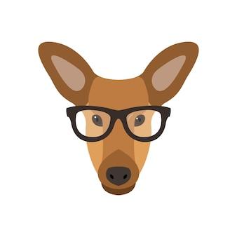 眼鏡をかけた鹿の雌