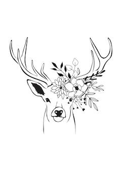 鹿の花の頭の簡単な描画