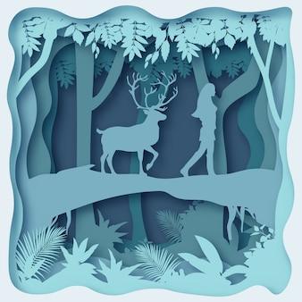 A deer follows a woman, 3d paper art origami design