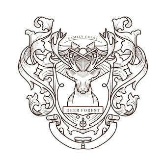 Deer forest family crest illustration