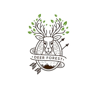 Deer forest illustration