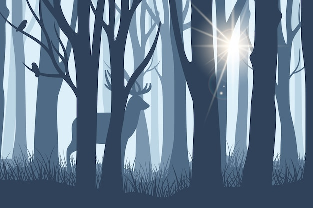 Deer in forest landscape. wild doe or reindeer silhouette into dark woods trees background with ray of sunshine through fog vector illustration