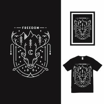 ディアフォレストラインアートtシャツデザイン