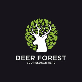 Deer forest logo template
