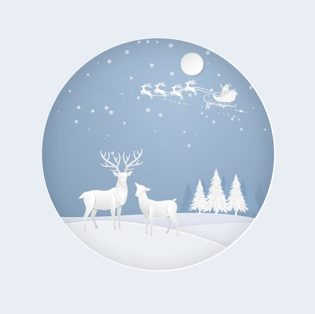 Deer in forest with snow, santa claus in the winter season. christmas, new year