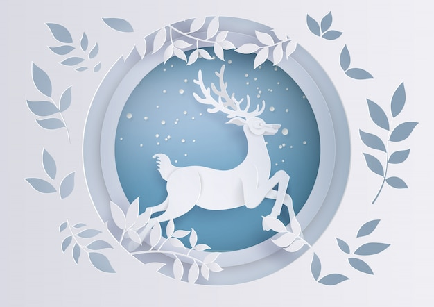 Deer in forest with snow in the winter season and christmas.