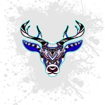 抽象的な装飾的なパターンからの鹿
