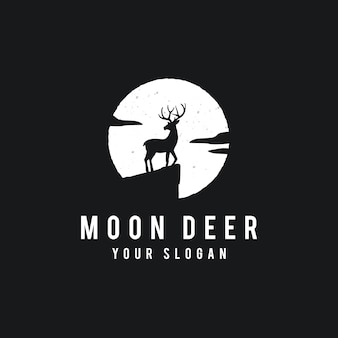 Deer on the full moon background in grunge style