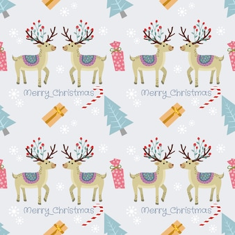 Deer and gift seamless pattern.