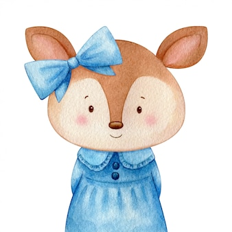 Deer girl in a sweet blue dress and a bow. Cute character watercolor illustration. Isolated