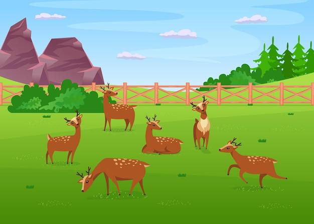 牧草地のフラットイラストで鹿の放牧