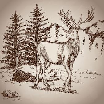 鹿の手を描く風景ヴィンテージ