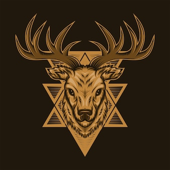 Deer head badge vector illustration