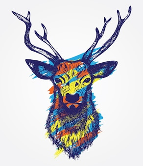 Deer head colorful hand drawn illustration