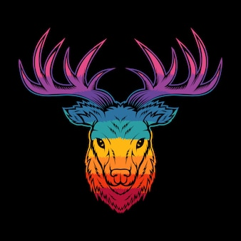 Deer head colorful illustration
