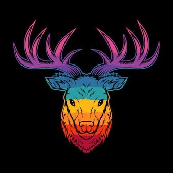 鹿の頭のカラフルなイラスト