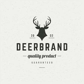 Deer head design element in vintage style for logotype
