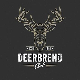 Deer head design element in vintage style..