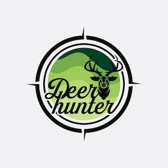 Дизайн головы оленя в винтажном стиле для клуба охоты на оленей, винтажная векторная иллюстрация логотипа deer hunter
