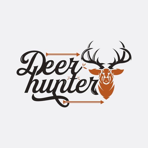 Deer head design in vintage style for deer hunting club, vintage vector illustration of deer hunter logo