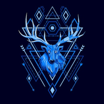 Иллюстрация стиля геометрии головы оленя
