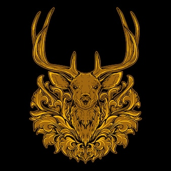 Deer head golden engraving ornament