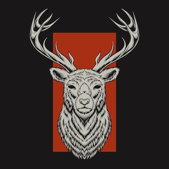 Deer head illustration with red background