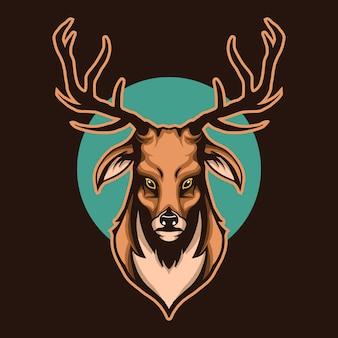 暗闇で隔離された鹿の頭