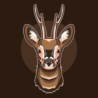 暗闇で隔離の鹿の頭のロゴイラスト