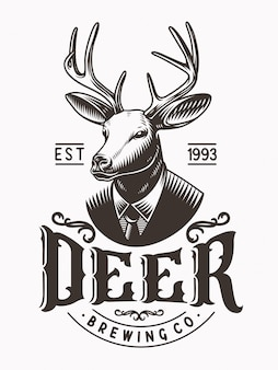 Deer head mascot logo vintage illustration