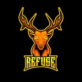 鹿の頭のマスコットのロゴ
