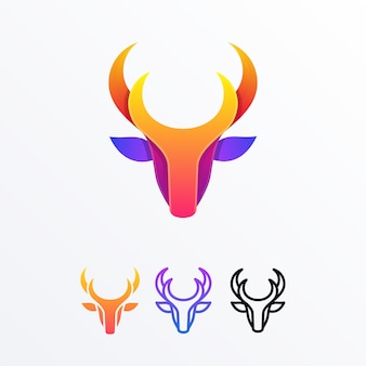 Deer head multicolored vector template