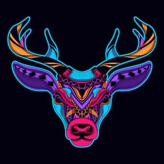 Deer head in neon color style art