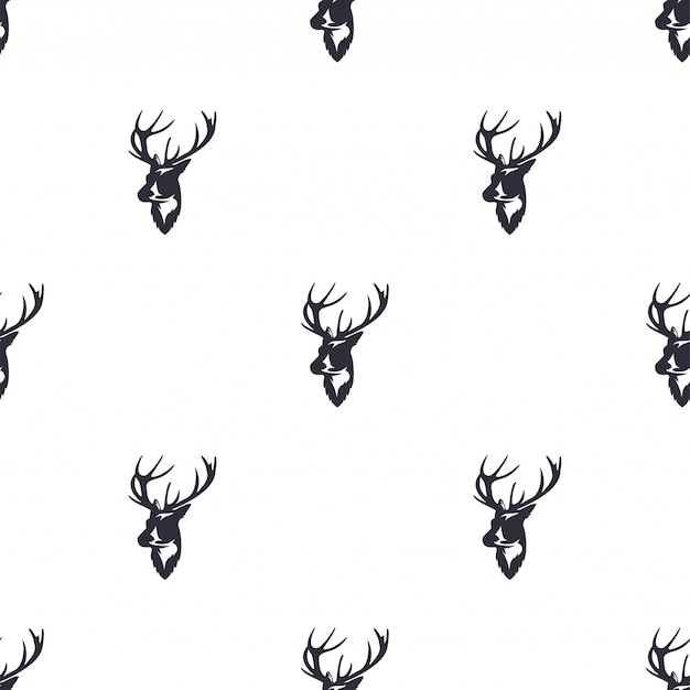 Deer head seamless pattern. wild animal reindeer. retro wallpaper.