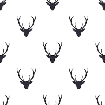 Deer head seamless pattern.