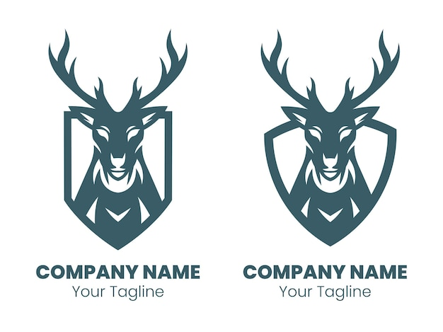 Дизайн логотипа силуэт головы оленя