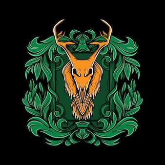 黒の背景の飾りに鹿の頭の頭蓋骨のイラスト