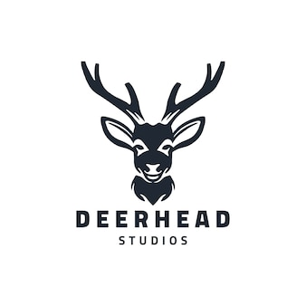 Deer head studio logo design illustration