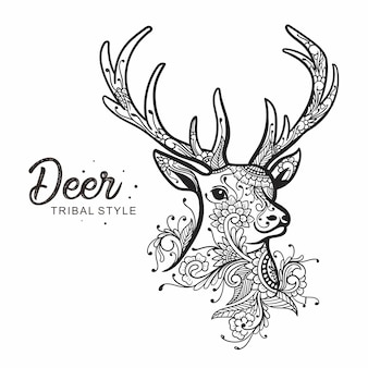 Deer head tribal style hand drawn