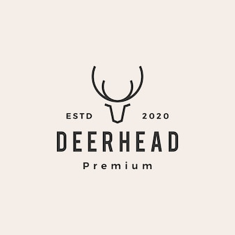 Deer head  vintage logo  icon illustration